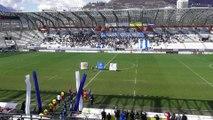 Le tifo des supporters grenoblois pour la réception de Lyon-Duchère au Stade des Alpes