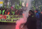 Demonstrators March in Support of French Railway Workers' Strike
