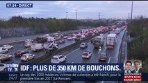"""""""2h45 pour faire 25km"""": plus de 350km de bouchons ce matin en région parisienne"""