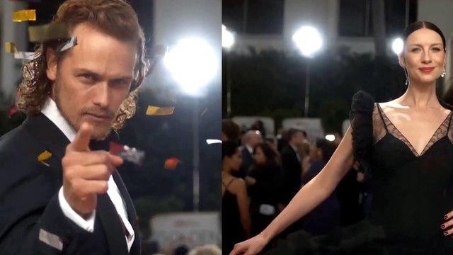 Outlander - Sam Heughan & Caitriona Balfe Golden Globes 2016 E! Glambot