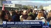 Les syndicats et le personnel de santé attendent Emmanuel Macron de pied ferme à Rouen