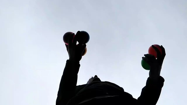 5 ball juggling video shot from below