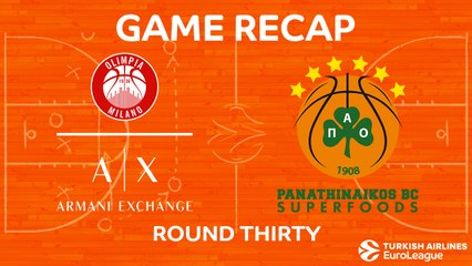 EuroLeague 2017-18 Highlights Regular Season Round 30 video: AX Milan 95-96 Panathinaikos