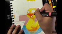 Ducky (Speed Drawing with Prismacolor Markers and Pencils)