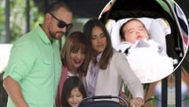 Jessica Alba celebrates Easter: Actress dotes on three-month-old son Hayes during fun family day... as husband Cash Warren enjoys ski trip with their daughters.