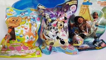 BOLAS DE BANHO SURPRESA Disney Magic Castle, Moana e Anpanman do JAPÃO (びっくら?たまご バスボール ディズニー アンパンマン)