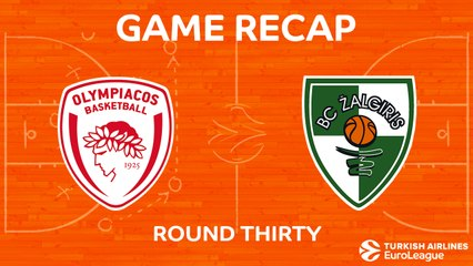 EuroLeague 2017-18 Highlights Regular Season Round 30 video: Olympiacos 85-86 Zalgiris