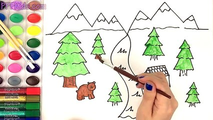 Learn How To Draw And Paint A Woods Scene With This Easy Drawing And Painting Page For Kids
