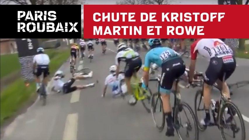 Chute de Kristoff, Martin et Rowe - Paris-Roubaix 2018