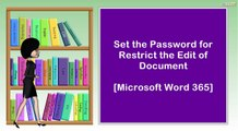 Set the Password for Restrict the Edit of Document  I  Microsoft Word 365
