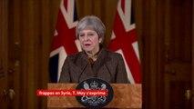 """""""Nous ne pouvons pas laisser se banaliser l'utilisation des armes chimiques en Syrie, au Royaume-Uni ou ailleurs. Il faut redire qu'il y a un consensus mondial contre l'utilisation d'armes chimiques"""", Theresa May, Première ministre britannique"""