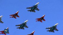 Russian aircraft and troops gear up for this year's Victory Day parade.   More than 70 aircraft and helicopters take part in rehearsals at the Alabino training