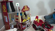 Boys playing with Firetrucks, John Deere Trors, Blocks, Police Cars, and Construction Toys!!!