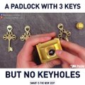 A padlock with 3 keys but no keyholes. via Mr.Puzzle