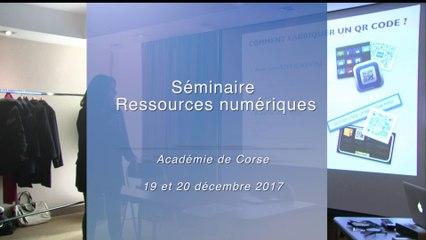 Séminaire Ressources Numériques 2017/2018 dans l'académie de Corse