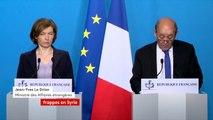 """Opération militaire française en Syrie : """"Cette action est légitime, (...) circonscrite à des objectifs précis (...). Cette action est proportionnée et ciblée"""", Jean-Yves Le Drian, ministre des Affaires étrangères"""