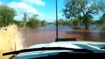 The Amazing Land Cruiser 4x4 Crossing Deep Watered Land