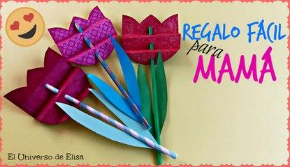 Regalos Fáciles para el Día de la Madre, Tulipán con Pajita o Popote, Manualidades de reciclaje