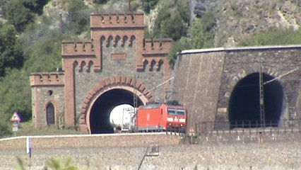 Züge und Schiffe bei Oberwesel am Rhein, 101, 152, 185, 189, 460, 2x 428