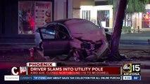 Car slams into pole near 43rd Avenue and McDowell