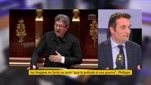 """Les frappes en Syrie """"ont d'ores et déjà renforcé Daech"""", estime Florian Philippot. """"On n'a aucune preuve"""" d'attaque chimique.    """"Je n'ai aucune amitié pour Bachar al-Assad. Mais quel est le plan B ?"""" s'interroge le président du mouvement Les Patriotes"""