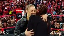 ROUSEY PUTS SUBMISSION HOLD ON STEPHANIE.  The night after WrestleMania, Ronda Rousey appears to make amends with Stephanie McMahon, but instead Ronda puts her in a submission hold.