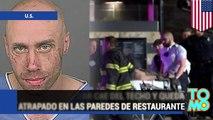 Hombre sin hogar que vivía en el techo de un restaurante queda atrapado entre una pared del lugar