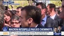 """Interpellé par des cheminots, Emmanuel Macron """"prend l'engagement de réinvestir dans les petites lignes le jour ou la réforme sera faite"""""""