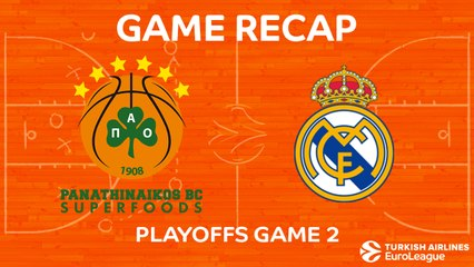EuroLeague 2017-18 Highlights Playoffs Game 2 video: Panathinaikos 82-89 Madrid