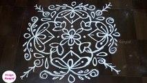 Rangoli videos , stylish flower design rangoli with 9 dots , easy design rangoli , simple design rangoli, Rangoli video / How to make rangoli with flowers - Video Dailymotion