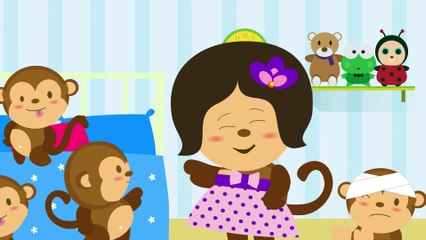Five Little Monkeys Jumping on The Bed  | Kids Songs & Kindergarten Nursery Rhymes