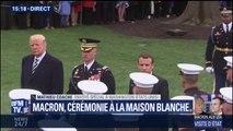 Emmanuel Macron et Donald Trump passent en revue les troupes américaines à la Maison-Blanche