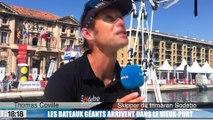 Le skipper breton Thomas Coville et son bateau géant Sodebo sont arrivés dans le Vieux-Port de Marseille