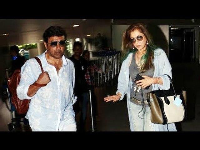 Ex-Couple Sunny Deol और Dimple Kapadia साथ साथ दिखाई दिए Airport पर