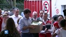Primer ministro de Canadá visita centro de acopio de la Cruz Roja Mexicana