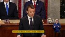 """""""Je suis sûr qu'un jour les Etats-Unis reviendront pour se joindre à l'accord de Paris"""" sur le climat, déclare Emmanuel Macron, face au Congrès américain"""