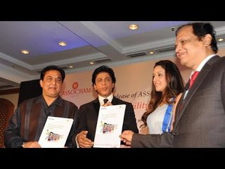 shahrukh khan launches assocham coffee table book on media entertainment with yes bank