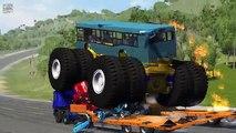 Beamng drive - Giants Machines Crushes Cars #3 (Giants Wheels crush cars)