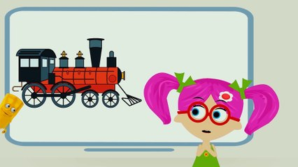 How to Draw Bus and Train for Kids Coloring Pages - Learn Colors Educational Video for Children