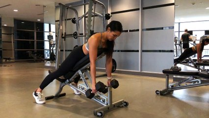 Jennifer Lau Arms Workout Prone Dumbbell Row