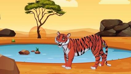 Мультики про динозавра. Учим диких животных. Лев и Тигр. Развивающий мультфильм для детей