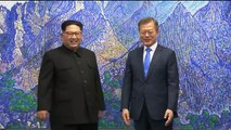 WATCH: South Korean President Moon Jae-in and North Korean leader Kim Jong Un share some lighthearted moments before sitting down for talks at the Peace House i