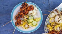 Carla Hall's BBQ Chicken Kebabs, Veggies & Quick Pickles for Foodies on a Budget