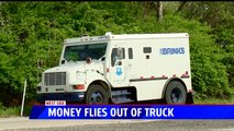 Brinks Truck Drops Thousands of Dollars on Indiana Freeway