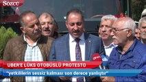 Taksicilerden Uber'e lüks otobüslü protesto