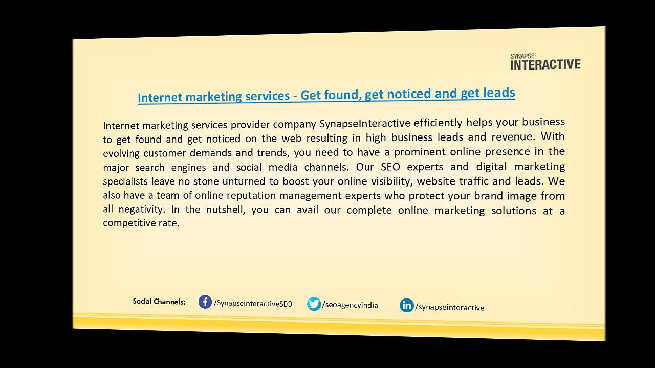 Internet marketing services – Delivering award-winning solutions