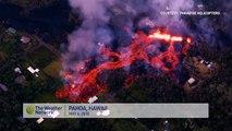 Vues aériennes des coulées de boues du volcan à Hawaii