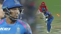 IPL 2018 : Sanju Samson out for 22 runs (18b, 1x4, 1x6) , Mujeeb Strikes | वनइंडिया हिंदी