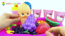 Learn Colors & Fruits in English Baby Doll Bath Balls Skittles Candy Hello Kitty Pretend Play