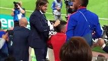Reacción de James Rodríguez al gol de Yerry Mina para colombia minuto 93